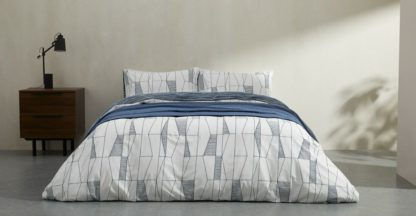 An Image of Bakari Cotton Duvet cover + 2 Pillowcases, King, Indigo UK