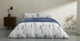 An Image of Bakari Cotton Duvet cover + 2 Pillowcases, Double, Indigo UK