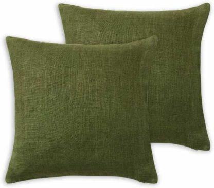 An Image of Adra Set of 2 100% Linen Cushions, 50 x 50cm, Fir Green
