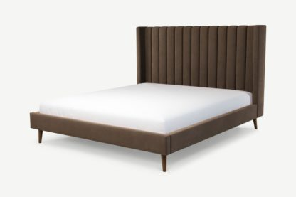 An Image of Custom MADE Cory Super King Size Bed, Mushroom Taupe Cotton Velvet with Walnut Stained Oak Legs