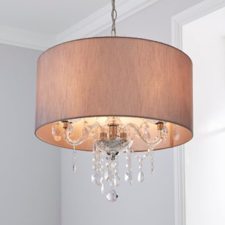 An Image of Livia 3 Light Jewel Shaded Grey Chandelier Silver