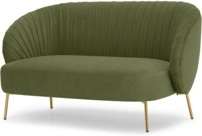 An Image of Ilana 2 Seater Sofa, Fir Green Velvet