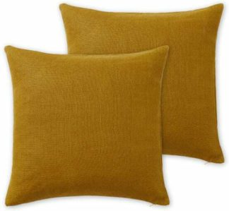 An Image of Adra Set of 2 100% Linen Cushions, 50 x 50cm, Dark Mustard