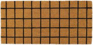 An Image of Roel Coir Doormat, Extra Long 50 x 110cm, Natural & Black Grid