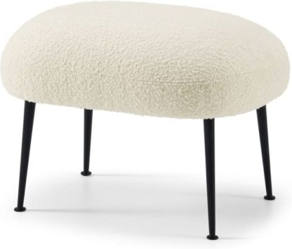 An Image of Bonnie Footstool, Whitewash Boucle