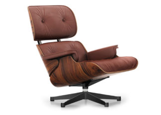 An Image of Vitra Classic Eames Lounge Chair in Santos Palisander & Brandy Leather