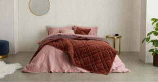 An Image of Sharmini Velvet Bedspread, 225 x 220cm, Dark Terracotta