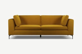 An Image of Monterosso 3 Seater Sofa, Vintage Mustard Velvet with Black Leg
