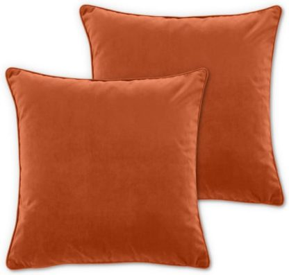 An Image of Julius Set of 2 Velvet Cushions, 45 x 45cm, Burnt Orange