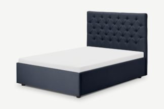 An Image of Skye King Size Bed with Ottoman Storage, Dark Blue Weave