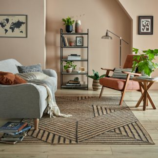An Image of Reed Jute Rug Black and Brown