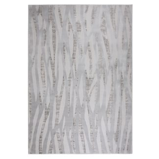 An Image of Linear Luxe Silver Rug Silver