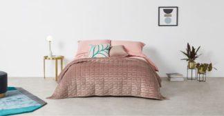An Image of Julius Quilted Velvet Bedspread, 225x220cm, Soft Pink