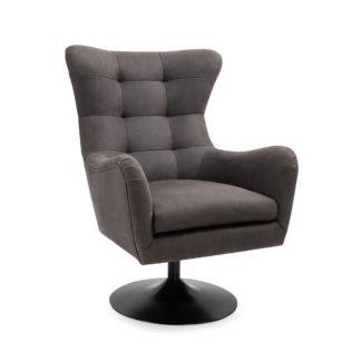 An Image of Roan PU Leather Swivel Chair - Dark Grey Grey