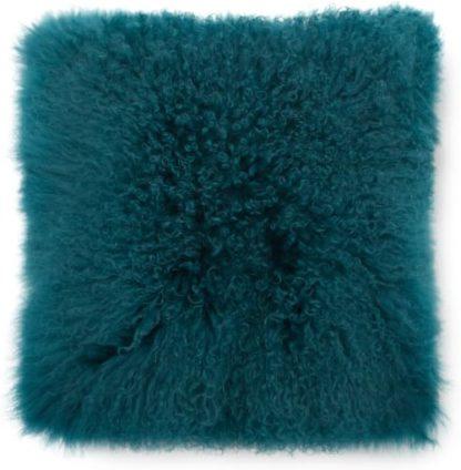 An Image of Haddie Mongolian Fur Cushion 45 x 45cm, Dark Teal