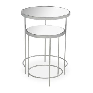 An Image of Ritz Chrome Mirrored Nest of Tables Silver