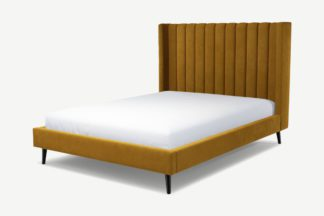 An Image of Custom MADE Cory King Size Bed, Dijon Yellow Cotton Velvet with Black Stained Oak Legs