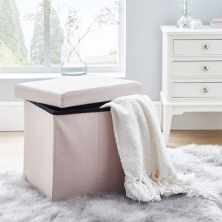 An Image of Faux Linen Blush Foldable Cube Ottoman Pink