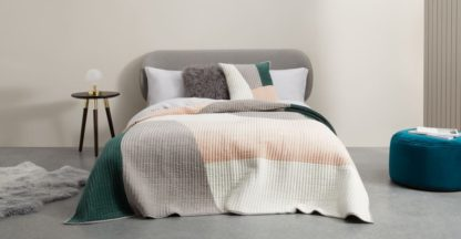 An Image of Giacomo Quilted Velvet Bedspread, Peacock green & Plaster Pink