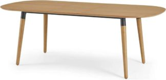 An Image of Edelweiss 6-8 Seat Oval Extending Dining Table, Oak and Black