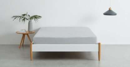 An Image of Brisa 100% Linen Fitted Sheet, Double, Silver Grey