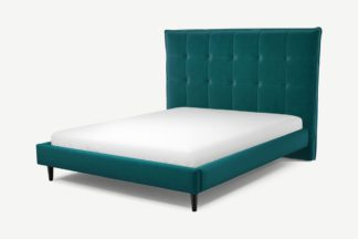An Image of Custom MADE Lamas King Size Bed, Tuscan Teal Velvet with Black Stained Oak Legs