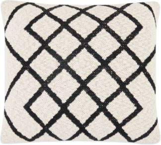 An Image of Fes Textured Cotton Cushion, Off White & Black