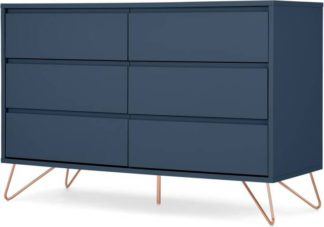 An Image of Elona Compact Wide Chest, 120cm, Dark Blue & Copper