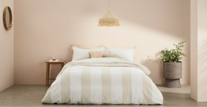 An Image of Kelsey Linen/Cotton Striped Duvet Cover + 2 Pillowcases, King, Soft Taupe UK