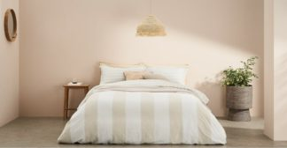 An Image of Kelsey Linen/Cotton Striped Duvet Cover + 2 Pillowcases, Double, Soft Taupe UK