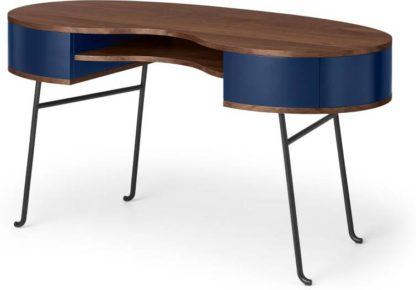 An Image of Pendelbury Desk, Walnut & Royal Blue