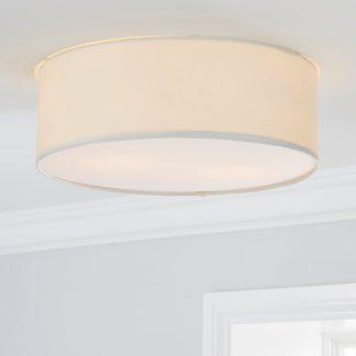 An Image of Sara 38cm Ivory Shade Flush Ceiling Fitting White