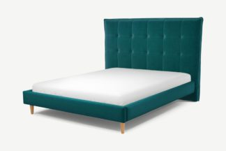 An Image of Custom MADE Lamas King Size Bed, Tuscan Teal Velvet with Oak Legs