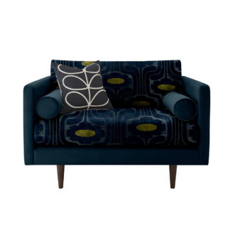 An Image of Orla Kiely Mimosa Snuggle Chair, Patterned Velvet