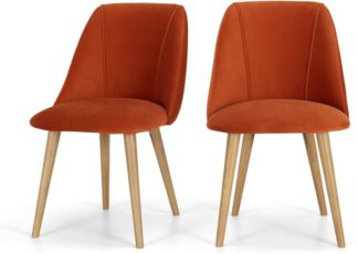 An Image of Lule Set of 2 Dining Chairs, Flame Orange Velvet & Oak