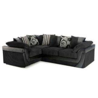 An Image of Lush Scatter Back Left Hand Corner Sofa Black