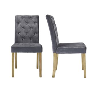 An Image of Avola Set of 2 Dining Chairs Velvet Silver