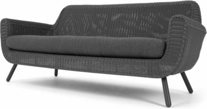 An Image of Jonah Garden 3 seater Sofa, Dark Grey Poly Rattan