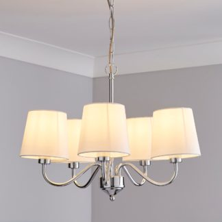An Image of Annai 5 Light Shaded White Ceiling Fitting White