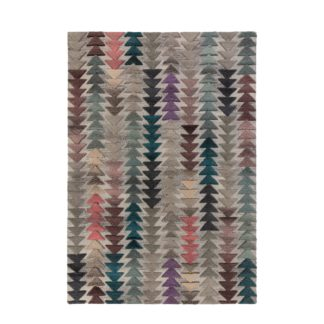An Image of Archer Geometric Rug Green, Purple and Pink