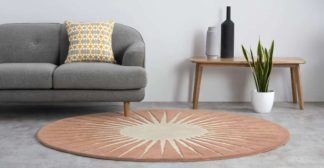 An Image of Vaserely Round Wool Rug, Large 200cm, Pink