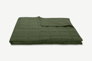 An Image of Brisa 100% Linen Soft Washed Bedspread, 220 x 225cm, Moss Green