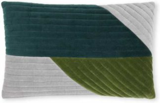 An Image of Balico Velvet Panelled Cushion, 30 x 50 cm, Teal