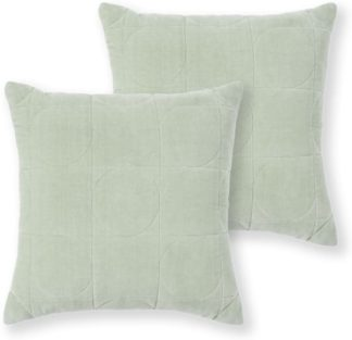 An Image of Keeble Set of 2 Velvet Cushions, 45 x 45cm, Sage Green