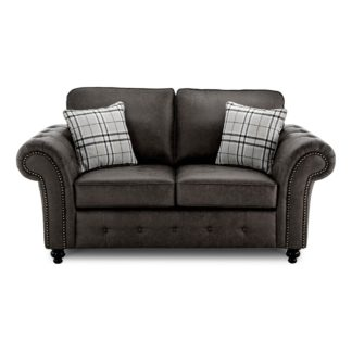 An Image of Oakland Faux Leather 2 Seater Sofa Black