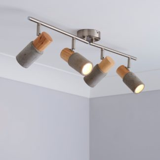An Image of Inka 4 Light Concrete Wood Spotlight Bar Grey and Brown