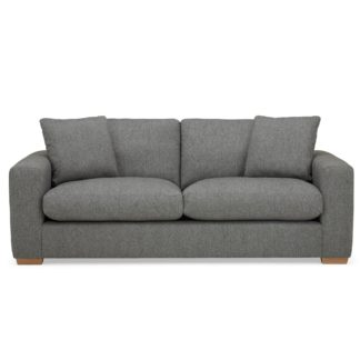 An Image of Porto Fabric 3 Seater Sofa - Dark Grey Dark Grey