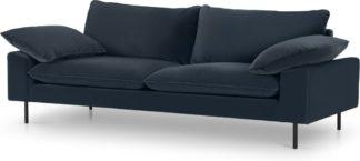 An Image of Fallyn 3 Seater Sofa, Navy Cotton Velvet