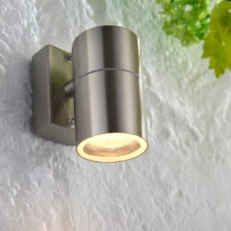 An Image of Endon Canon Outdoor Wall Light Steel Silver