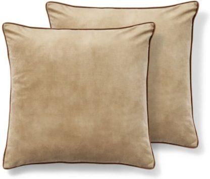 An Image of Castele Set of 2 Velvet Cushions, 50 x 50cm, Caramel